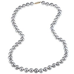 DaVonna 14k Gold Grey FW Pearl 20-inch Necklace (8-9 mm)