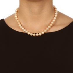 DaVonna 14k Gold Golden FW Pearl 16-inch Necklace (9-10 mm) - Thumbnail 2