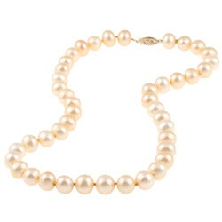 DaVonna 14k Gold Golden FW Pearl 16-inch Necklace (9-10 mm) - Thumbnail 0