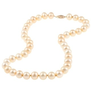DaVonna 14k Gold Golden freshwater Pearl 16-inch Necklace (9-10 mm)