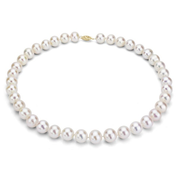 DaVonna 14k Gold 9-10mm White Freshwater Cultured Pearl Strand Necklace