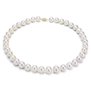 DaVonna 14k Gold White Freshwater Cultured Pearl Strand Necklace (16-36 inches) (9-10 mm) (More options available)