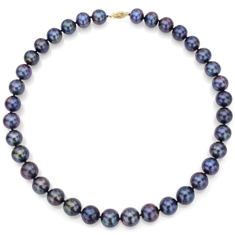 DaVonna 14k Gold 9-10mm Black Freshwater Pearl Necklace
