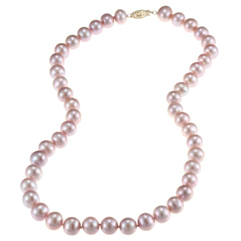 DaVonna 14k Gold 9-10mm Pink Freshwater Pearl Necklace
