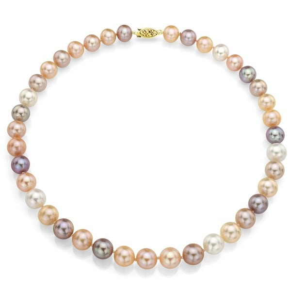 DaVonna 14k 9-10mm Multi-Pink Freshwater Cultured Pearl Strand Necklace (16-36 inches)