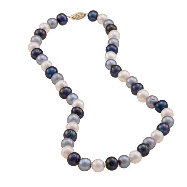 DaVonna 14k 9-10mm Dark-Multi Freshwater Cultured Pearl Strand Necklace (16-36 inches)