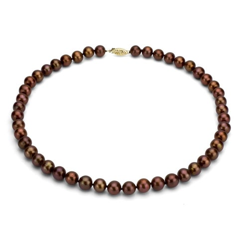 DaVonna 14k Gold 9-10mm Brown Freshwater Cultured Pearl Strand Necklace