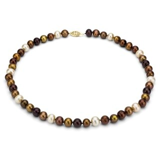 DaVonna 14k 9-10mm Brown -Multi Freshwater Cultured Pearl Strand Necklace (16-36 inches)