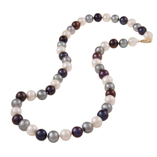 DaVonna 14k Gold Multi Dark FW Pearl 20-inch Necklace (9-10 mm)