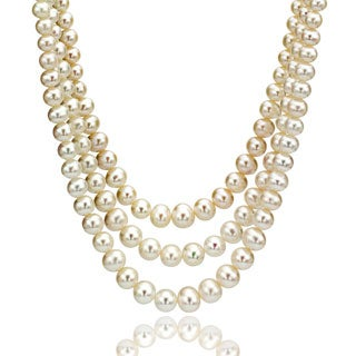 DaVonna Round White 10-11mm freshwater Pearl Endless Necklace