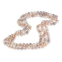 DaVonna Round Mulit Pink FW Pearl 72-inch Endless Necklace (9-10 mm)