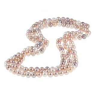 DaVonna Semi-round 9-10mm Mulit Pink Freshwater Pearl Endless Necklace