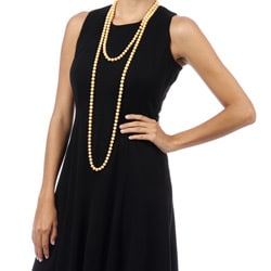 DaVonna Round Gold FW Pearl 72-inch Endless Necklace (9-10 mm)