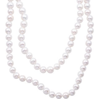 DaVonna Semi-round White Freshwater Pearl 48 - 100-inch Endless Necklace (9 - 10mm)