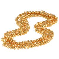 DaVonna Gold Freshwater Pearl 100-inch Endless Necklace (9-10 mm)