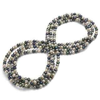 Multi-colored Dark Freshwater Pearl 100-inch Endless Necklace (9-10 mm)