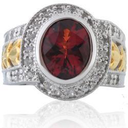 Michael Valitutti Silver/ 18k Vermeil Citrine and Sapphire Ring - Thumbnail 1