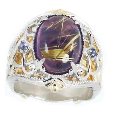 Michael Valitutti Palladium Silver Rutilated Quartz & Blue Sapphire Ring