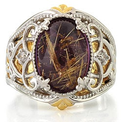 Michael Valitutti Silver/ 18k Vermeil Amethyst and Rutilated Quartz Ring