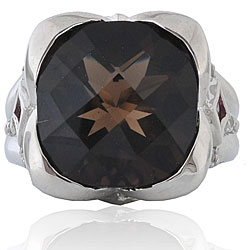 Michael Valitutti Palladium Silver Smokey Quartz and Sapphire Ring