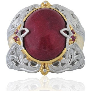 Michael Valitutti Sterling Silver Red Jade Ring