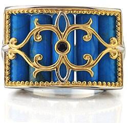 Michael Valitutti Palladium Sterling Silver/ 18k Vermeil Howlite Ring