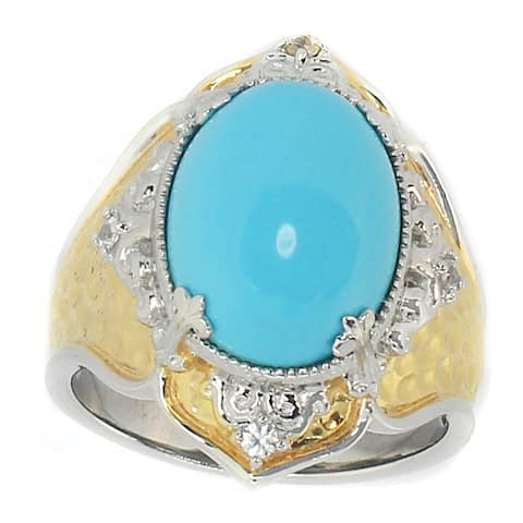 Gems en Vogue Palladium Silver Reconstituted Turquoise and White Sapphire Hammered Ring