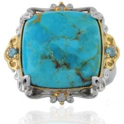 Michael Valitutti Sterling Silver Turquoise Two-tone Ring - Thumbnail 1