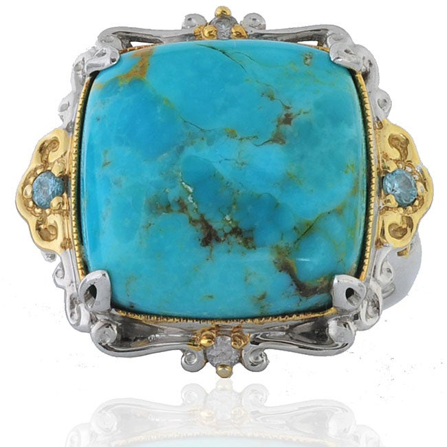 Michael Valitutti Sterling Silver Turquoise Two-tone Ring