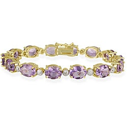Glitzy Rocks 18k Gold over Sterling Silver 23.1 CTW Amethyst and Diamond Accent Bracelet