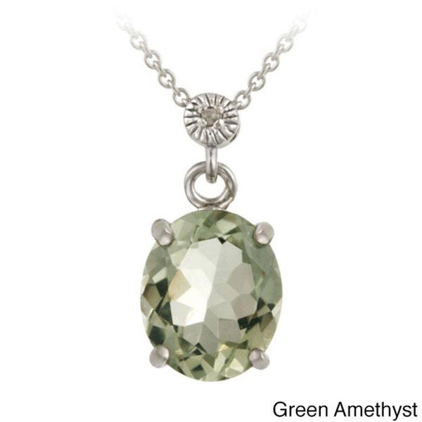 Glitzy Rocks Sterling Silver Gemstone and Diamond Accent Necklace