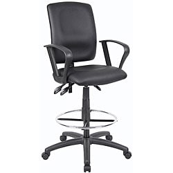 Boss LeatherPlus Multifunctional Drafting Stool with Arms - Thumbnail 0
