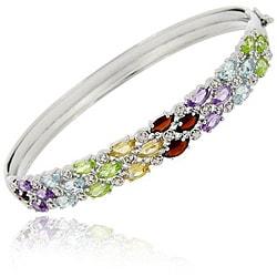 Glitzy Rocks Sterling Silver Multi-gemstone and Diamond Accent 3-row Bangle