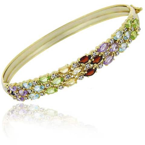 Glitzy Rocks 18k Gold over Silver Multi-gemstone and Diamond Accent 3-row Bangle