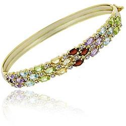 Glitzy Rocks 18k Gold over Silver Multi-gemstone and Diamond Accent 3-row Bangle