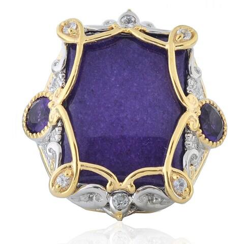 Michael Valitutti Two-tone Purple Emerald-cut Jade and Amethyst Ring