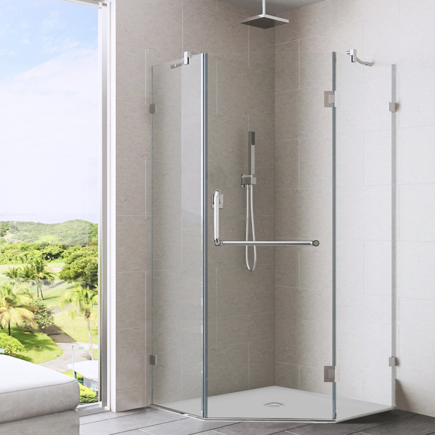 Vigo 36 X 36 Clearglass Neo Angle Frosted Polished Brass Right Shower Enclosure 36 X 36