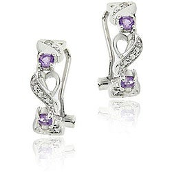 Glitzy Rocks Sterling Silver Amethyst and Diamond Accent Half-hoop Earrings