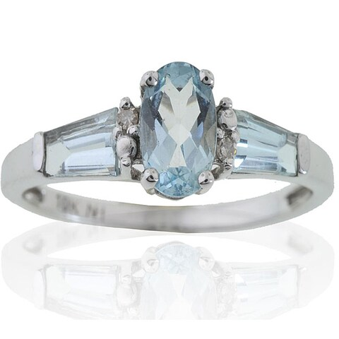 Michael Valitutti 10k Gold Aquamarine and 3/10ct TDW Diamond Ring