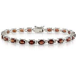 Miadora Sterling Silver Garnet Link Bracelet