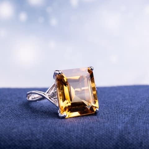 Miadora Sterling Silver Citrine and White Topaz Ring