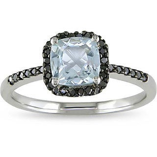 Miadora 10k Gold Aquamarine and 1/6ct TDW Black Diamond Ring
