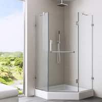 VIGO 36 x 36 Frameless Neo-angle Clear Shower Enclosure and White Base
