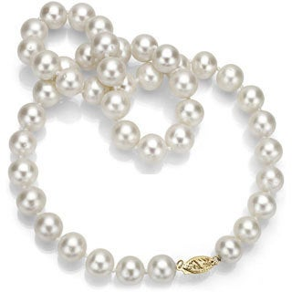 DaVonna 14k Gold White Fresh Watcer Pearl 24-inch Necklace (9-10 mm)