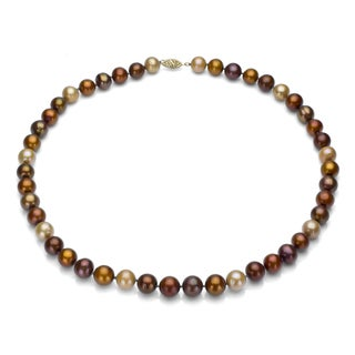 DaVonna 14k Gold 9-10mm Multi Brown Freshwater Pearl Necklace, 24-inch
