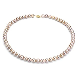 DaVonna 14k Gold Pink FW Pearl 24-inch Necklace (9-10 mm)