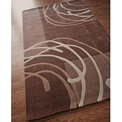 nuLOOM Hand-tufted Pino Collection Geometric Brown Rug (7'6 x 9'6) - Thumbnail 1