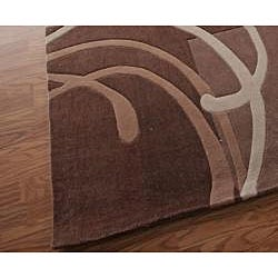 nuLOOM Hand-tufted Pino Collection Geometric Brown Rug (7'6 x 9'6) - Thumbnail 2