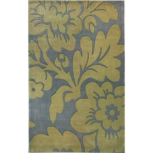 nuLOOM Hand-tufted Pino Collection Floral Slate Rug (7'6 x 9'6)