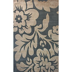 Thumbnail 1, nuLOOM Hand-tufted Pino Collection Floral Slate Rug - 7'6 x 9'6.